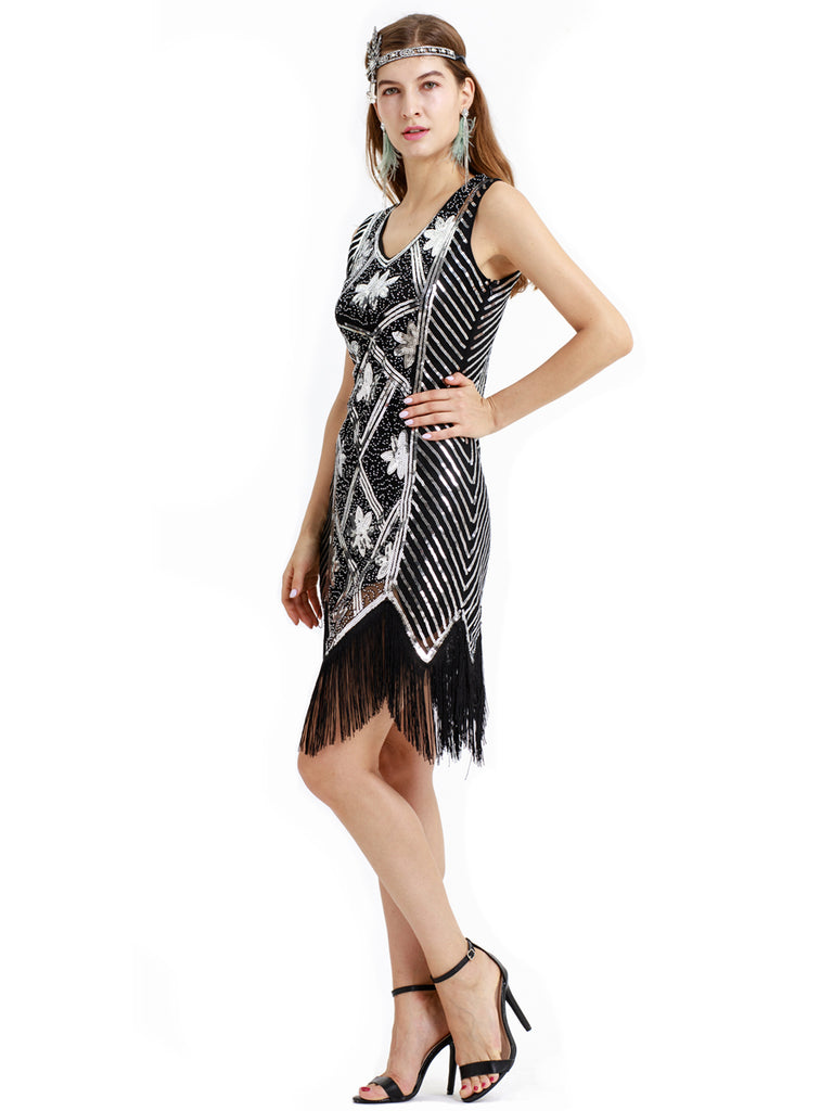 V-neck modern cocktail party fashion retro one-piece sequined fringed dress