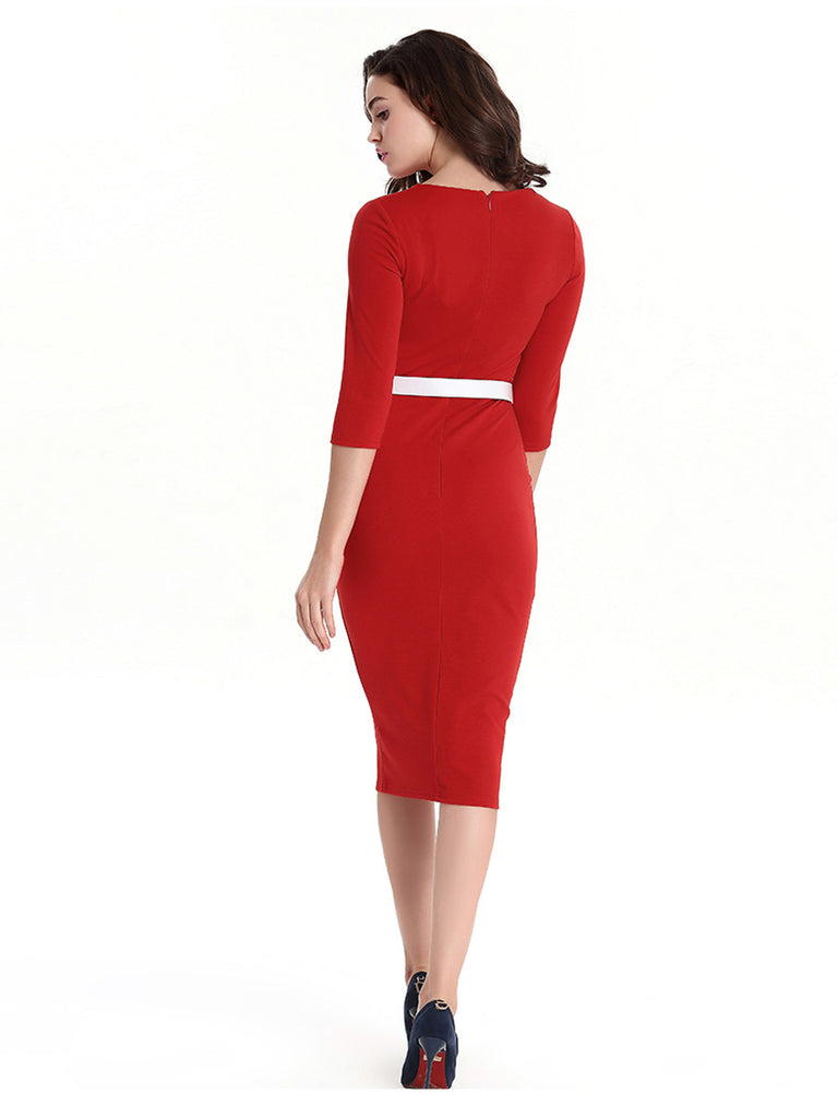 1950s Pencil Dress Crew Neck Slim Midi Dress With Belt Decoration