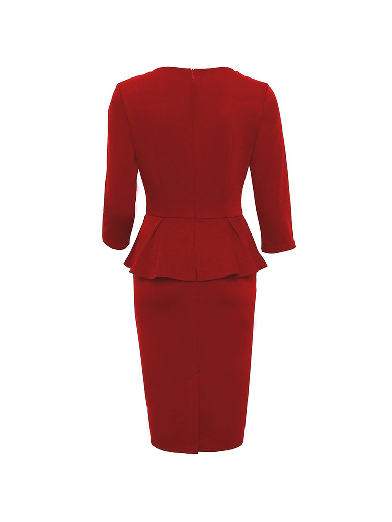 Vintage Dress Crew Neck Ruffles Pencil Dress