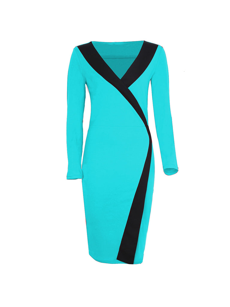 Pencil Dress Deep V-neck Long-sleeved Contrast Color Bodycon Dress