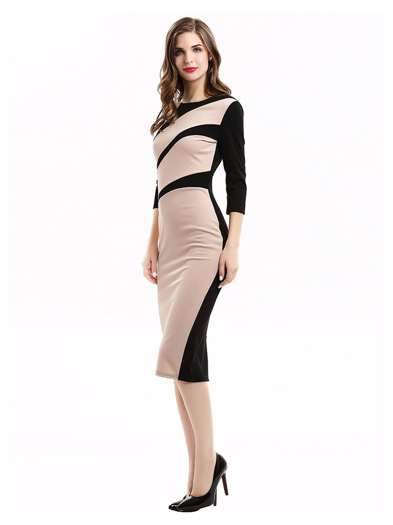Vintage Dress O-neck Color Contrast Long Pencil Dress