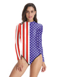 One-piece Swimsuit Striped and Stars Long Sleeve Swimwear