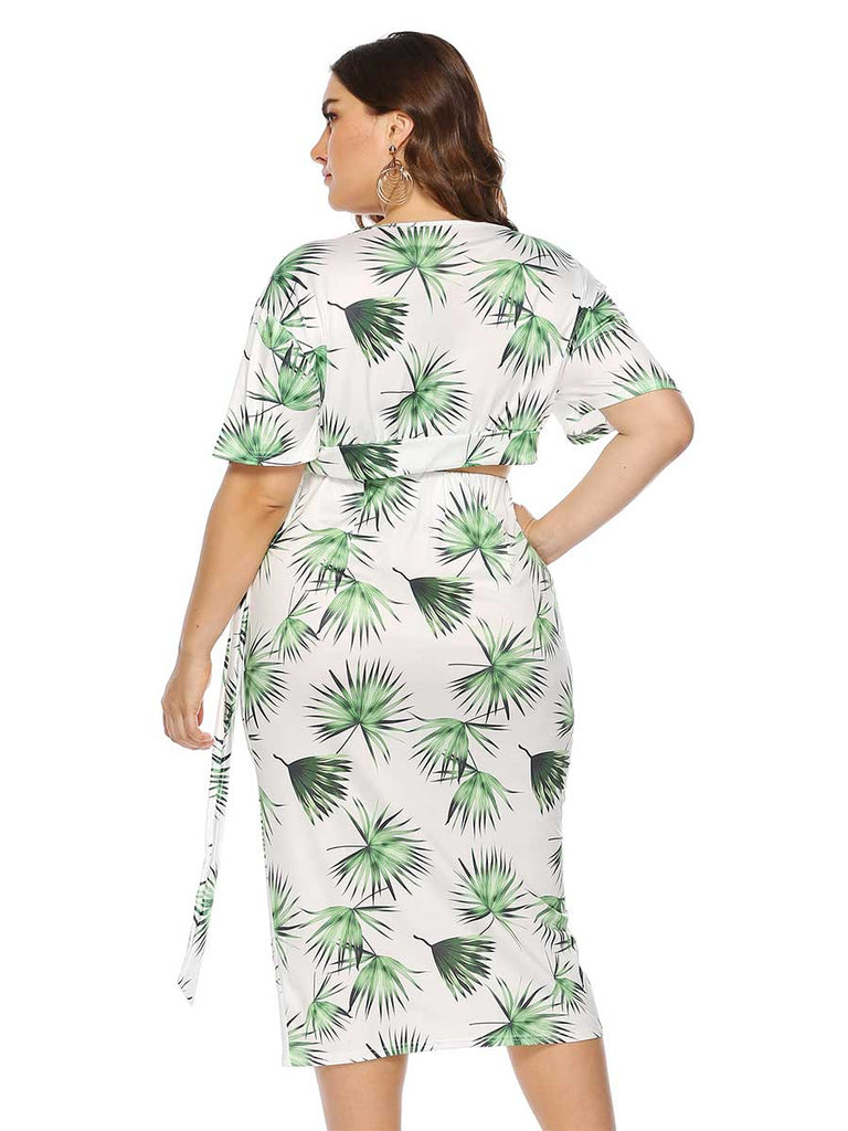 Large Size Leaves Print Short Sleeves Hip Skirt Two-piece Suit