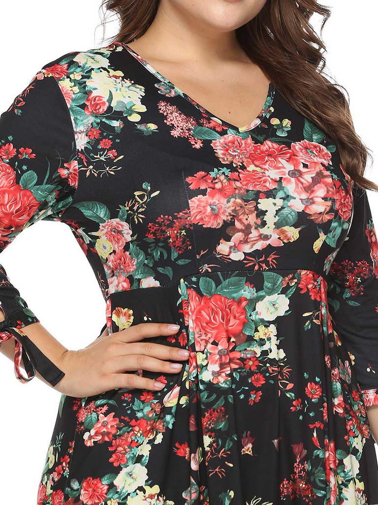 Plus Size Dress V neck Cropped Sleeves Floral Print Swing Dress