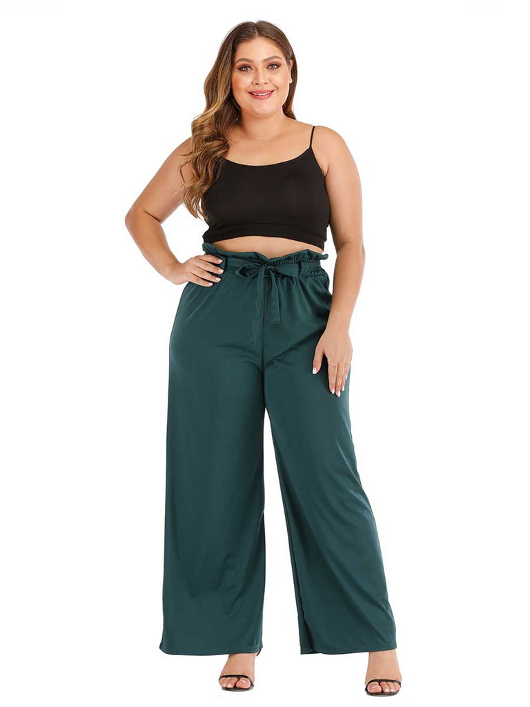 Casual Pants High Waist Bowknot Straight Micro Bell-bottom Pants