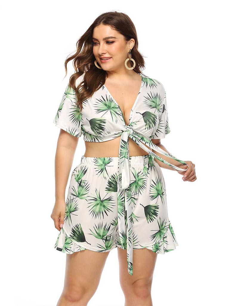 Plus Size Casual Two-Piece Set Leaf Printed Strap Waist Short Sleeve Shorts