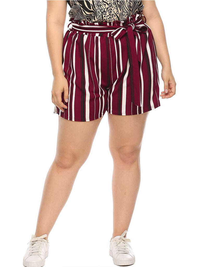 Casual Pants Wild Stripes Bow Loose Shorts