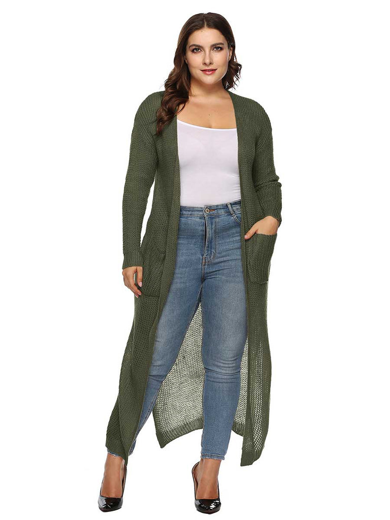 Thick Long Coat Large Size Long-sleeved Cardigan