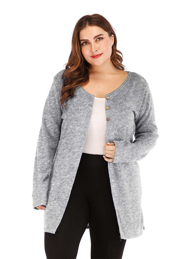 Casual Cardigan Wild Long-sleeved Three Buckles Bifurcation Jacket