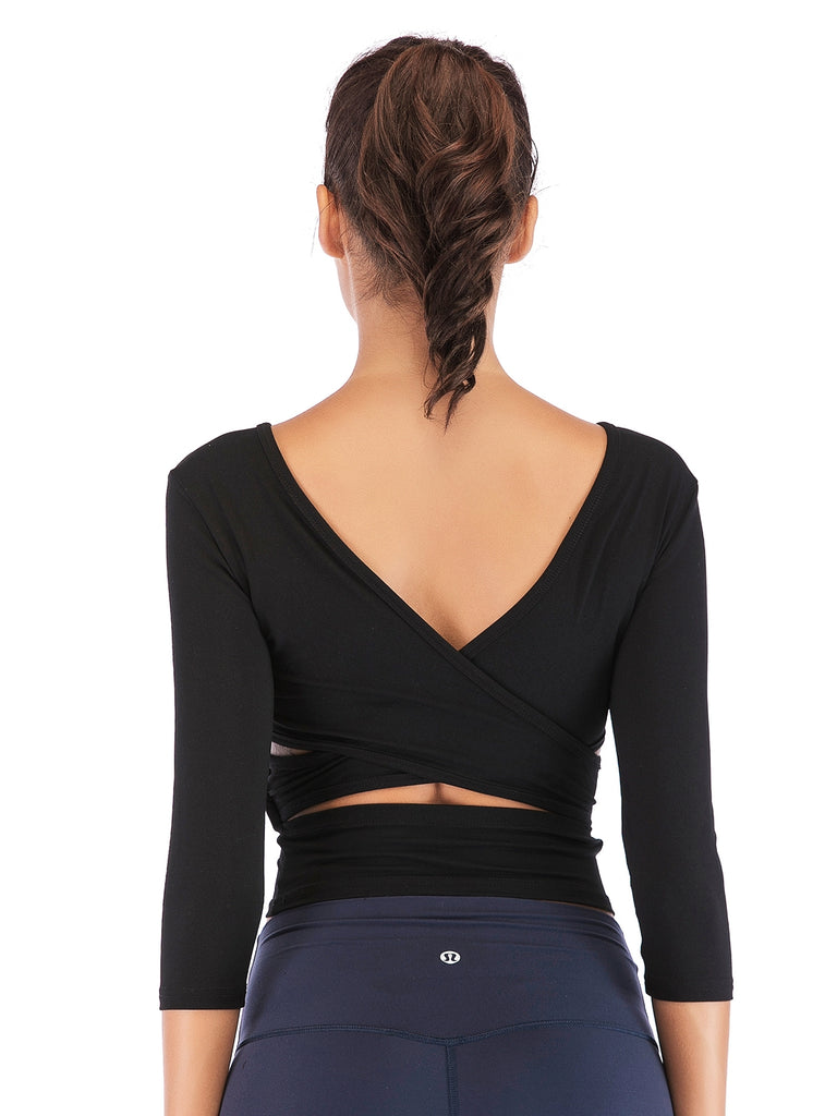 Stretchy Yoga Tops with Back Cross Strap