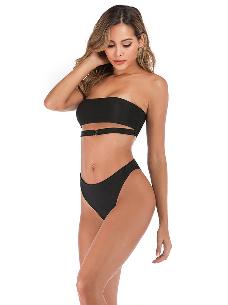 Two-piece Swimwear Black Tube Top Bikini
