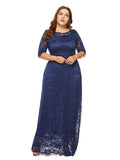 Plus Size Dress O Neck Three Quarters Sleeve Solid Color Lace Maxi Long Dress