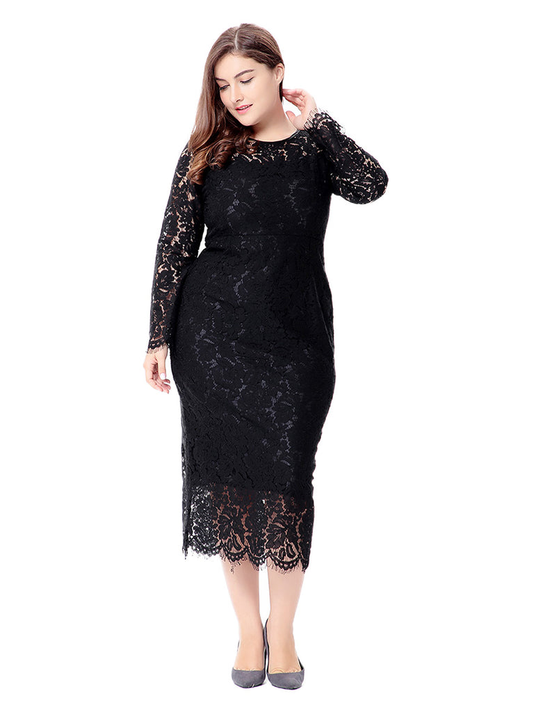 Plus Size Dress Elegant O Neck Long Sleeve Solid Color Lace Midi Dress