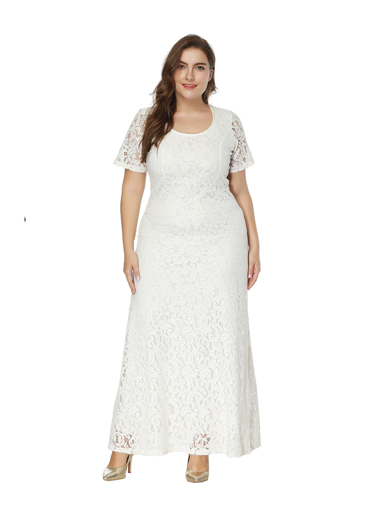 Plus Size Dress Hollow Out Short Sleeve Lace Full Dress