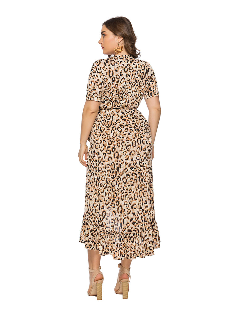 Plus Size Dress Short Sleeve Leopard Print V Neck Asymmetric Dress