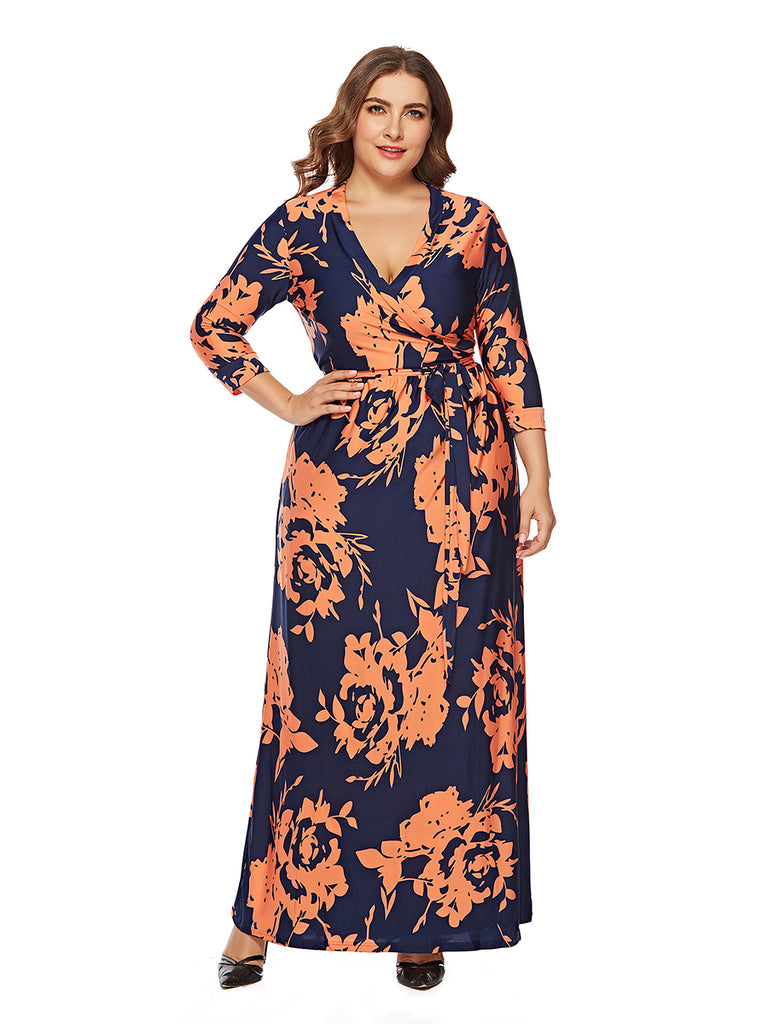Plus Size Dress Sash Design Long Sleeve Print Maxi Long Dress