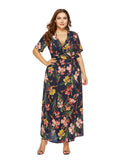 Plus Size Dress V Neck Floral Sash Design Maxi Long Beach Dress