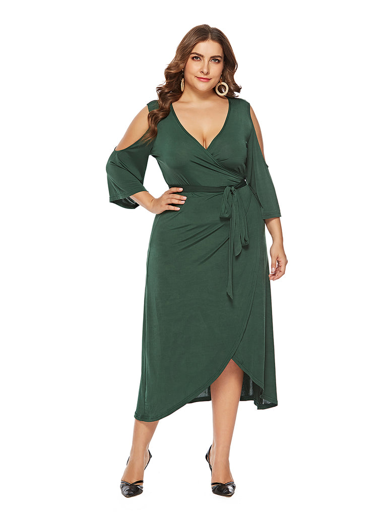 Plus Size Dress Hollow Out Shoulder V Neck Asymmetric Dress
