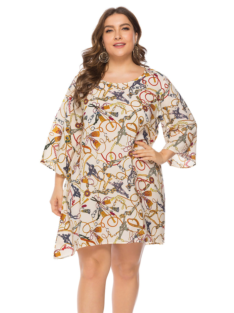 Plus Size Dress Short Sleeve V Neck Print Irregular Dress