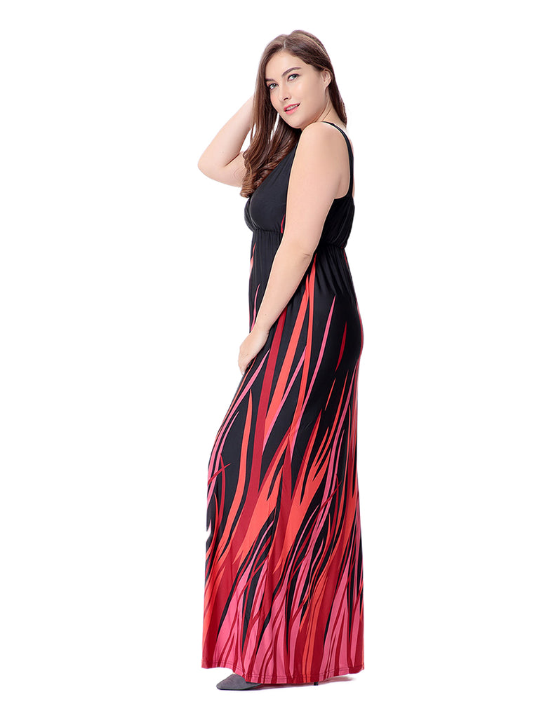 Plus Size Tank Dress Comfy V Neck Sleeveless Maxi Long Dress