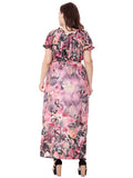 Plus Size Dress Short Sleeve Butterflies Print Maxi Long Dress