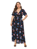 Plus Size Dress Split Floral Short Sleeve Beach Dress