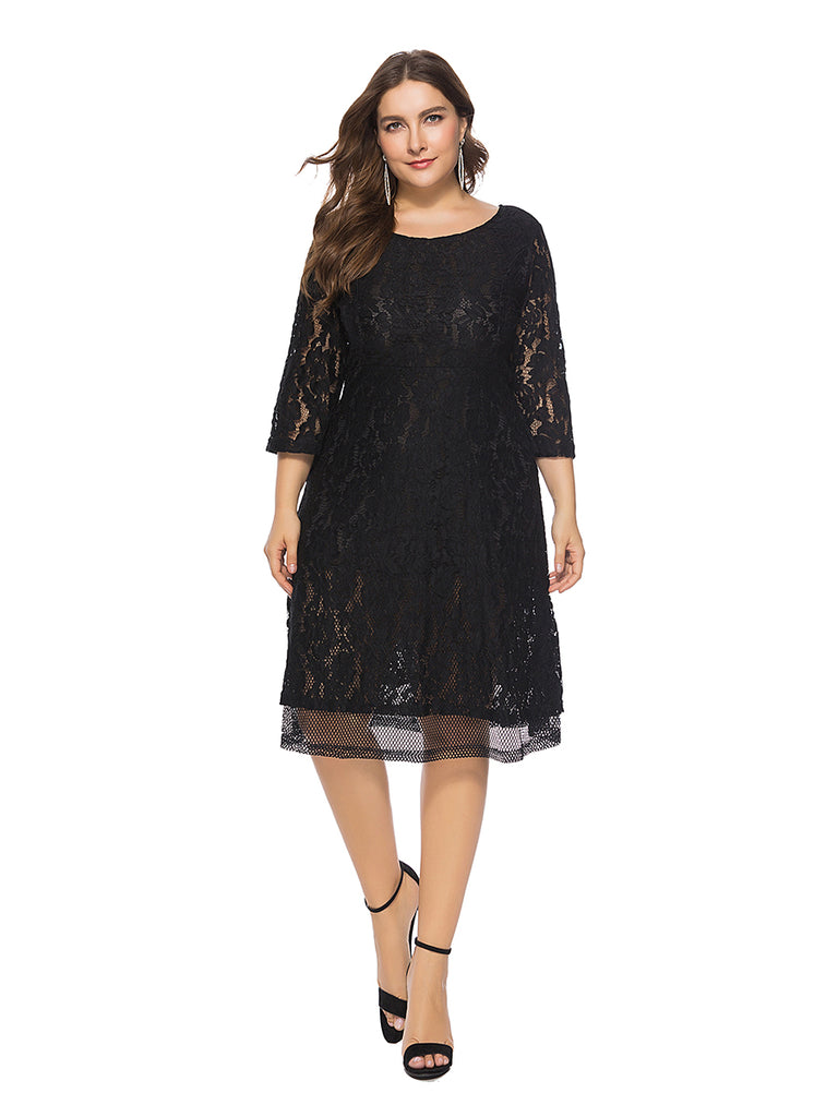 Plus Size Dress Solid Color Soft Elegant Lace Dress