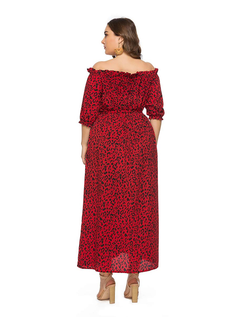 Plus Size Dress Off-shoulder Leopard Print Short-Sleeve Long Dress