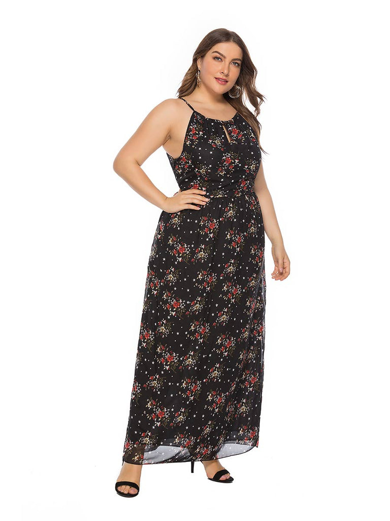 Plus Size Dress Bohemian Style Sleeveless Chiffon Print Maxi Dress