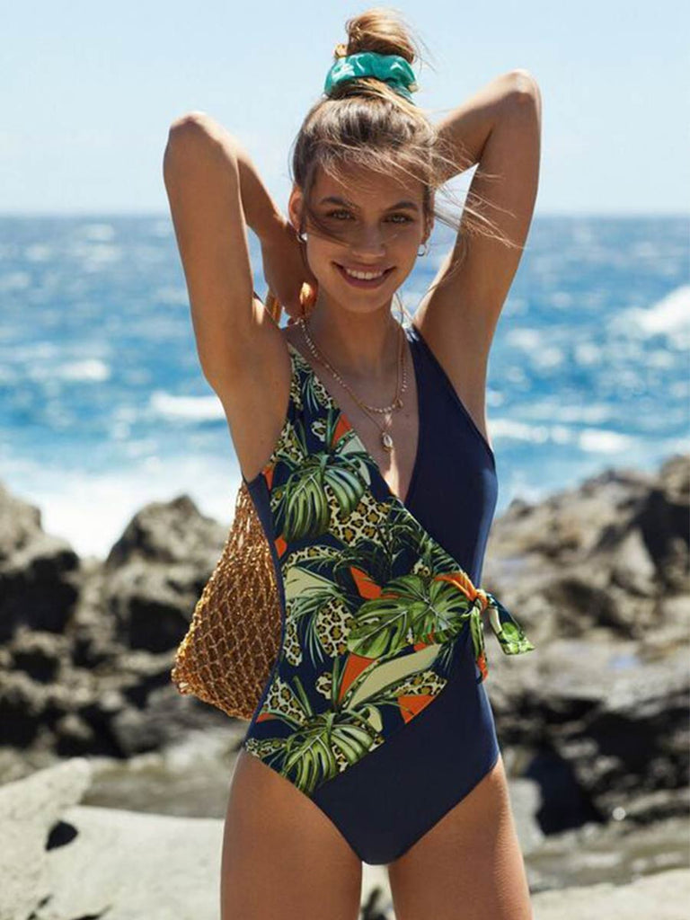 Women Swimsuit Printed One-piece Bikini With Bow