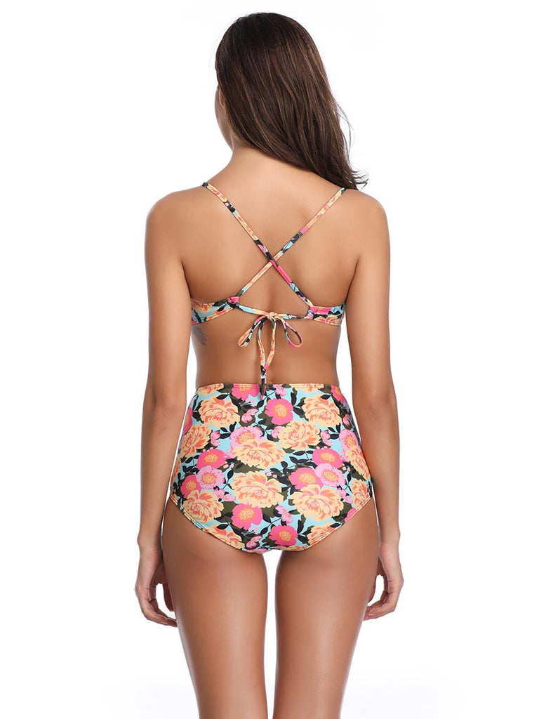 Female Swimwear Flowers Straps Two-piece Bikini