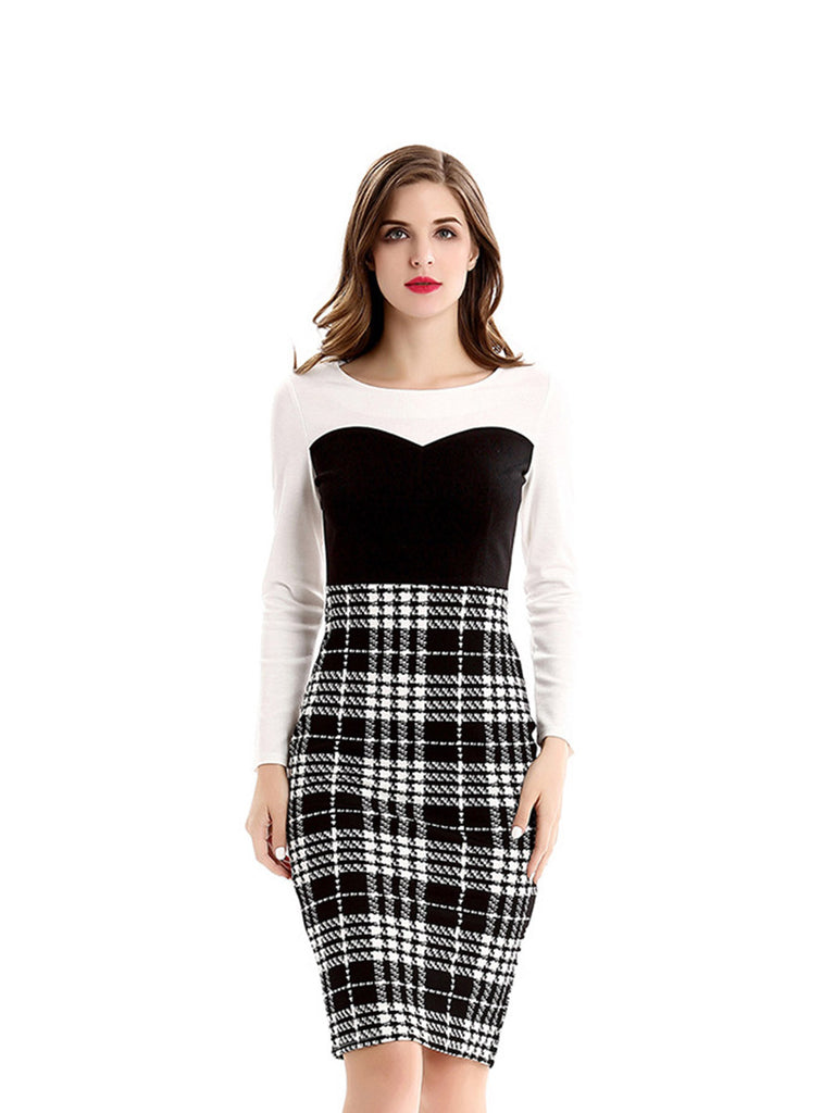 Plus Size Dress Knit Plaid Long Sleeve Pencil Dress