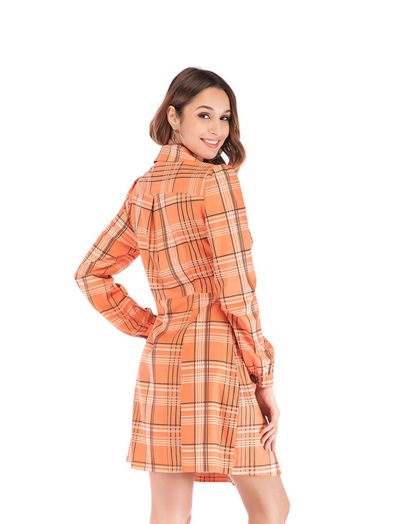 Casual Suit Collar Single-breasted Plaid Long Sleeve Dress