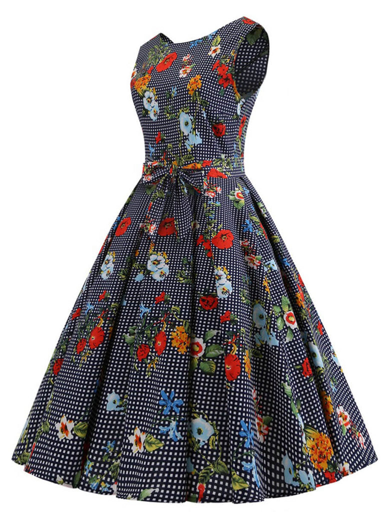 1950s Retro Dress O-Neck Sleeveless Print Knee-Length Dress