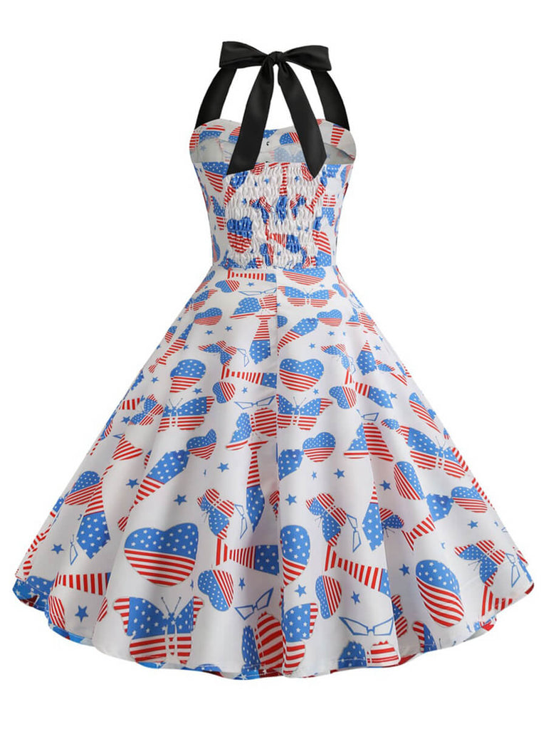 1950s Dress Rockabilly A-line Halter Sleeveless Retro Dress