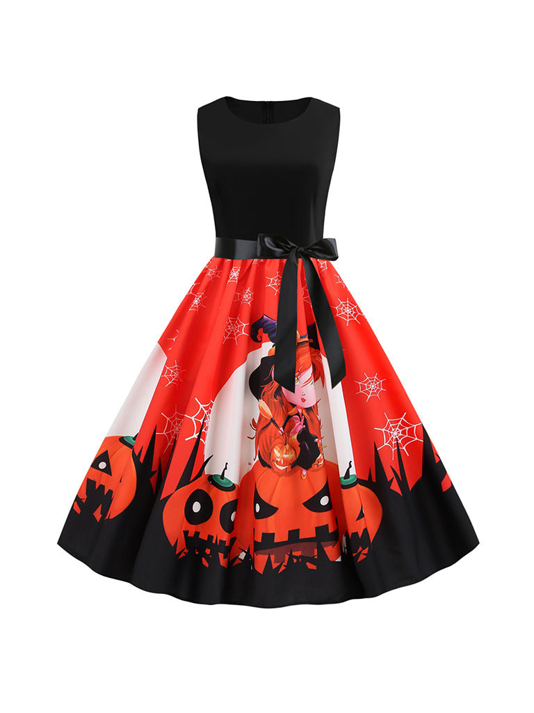 Halloween Round Neck Sleeveless Pumpkin Face Print Ribbon Big Swing Dress