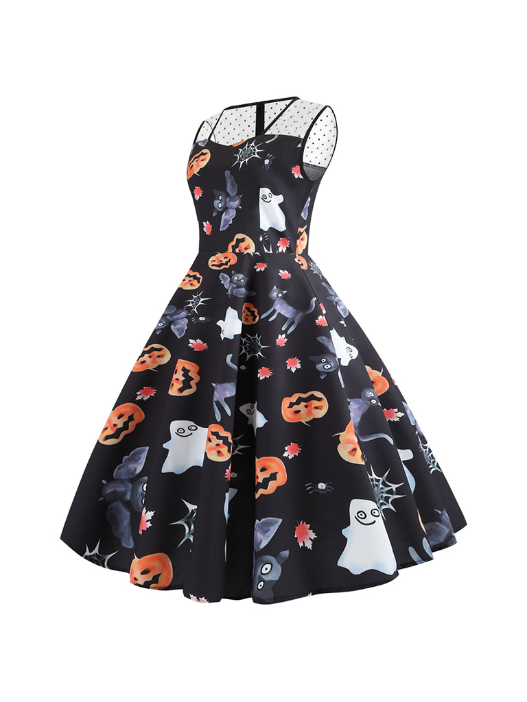 Halloween Gauze Square Collar Sleeveless Night Ghost Pumpkin Face Print Dress
