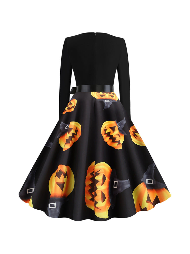 Halloween Plus Size Autumn And Winter Round Neck Long Sleeve Print Dress