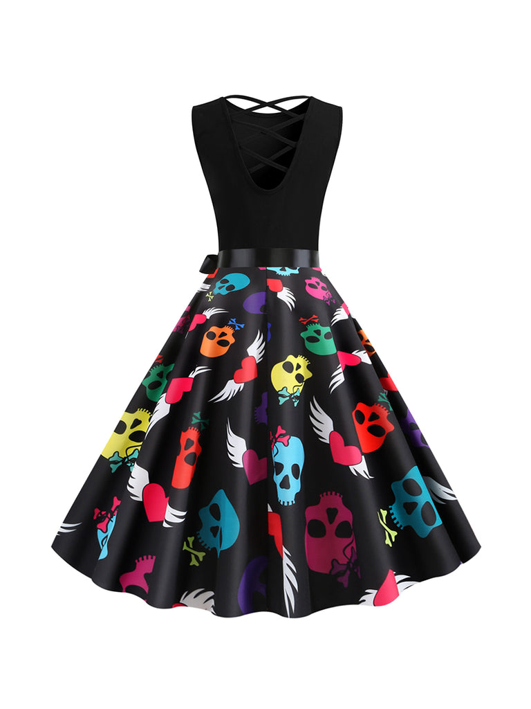 Halloween Autumn And Winter Round Neck Sleeveless Backless Bandage Skull Dress