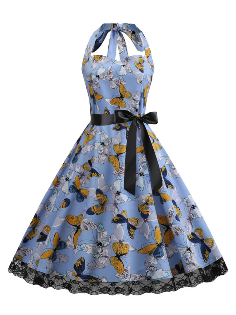 Vintage Dresses Halter A-Line Knee-length Dress with Butterfly Pattern