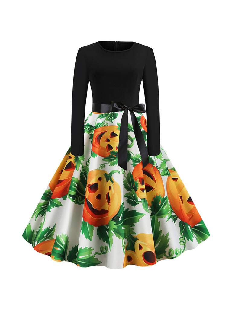 Halloween Autumn And Winter Round Neck Long Sleeve Pumpkin Head And Green Leaf Dress