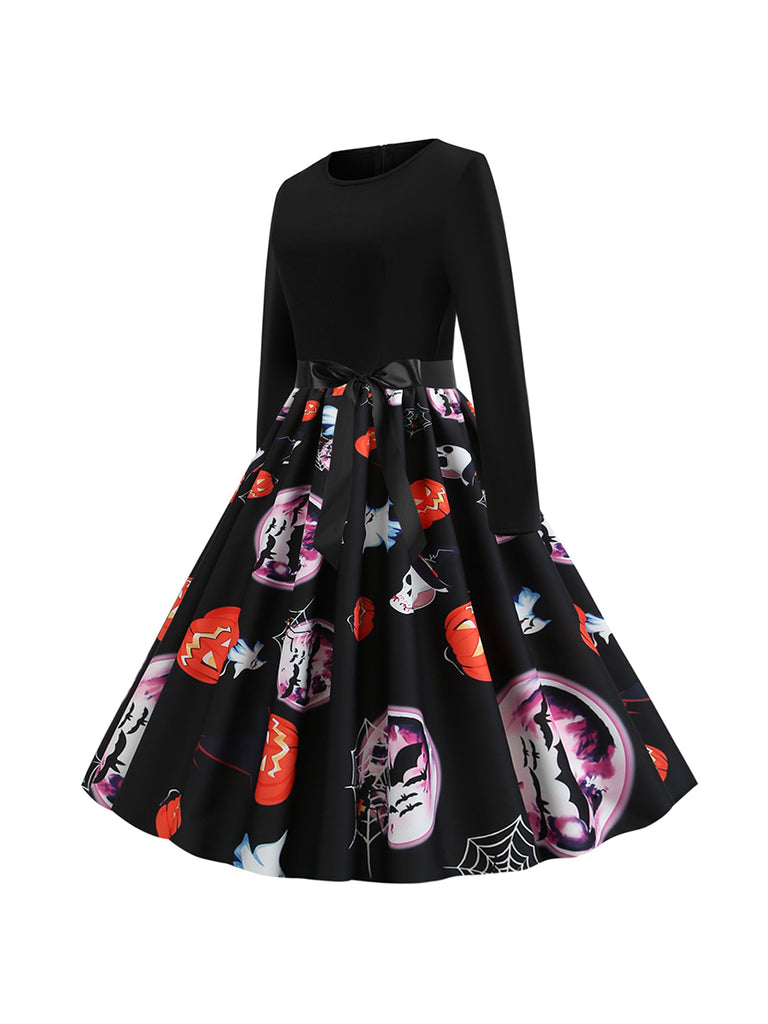 Halloween Autumn And Winter Round Neck Long Sleeve Spider Web Pumpkin Pattern Dress