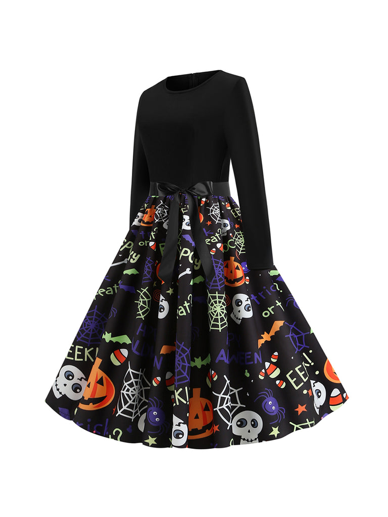 Halloween Autumn Round Neck Long Sleeve Spider Web Pumpkin Pattern Dress