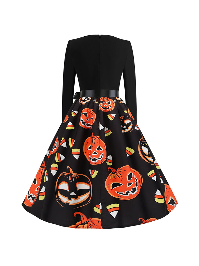 Halloween Round Neck Long Sleeve Orange Pumpkin Head Dress