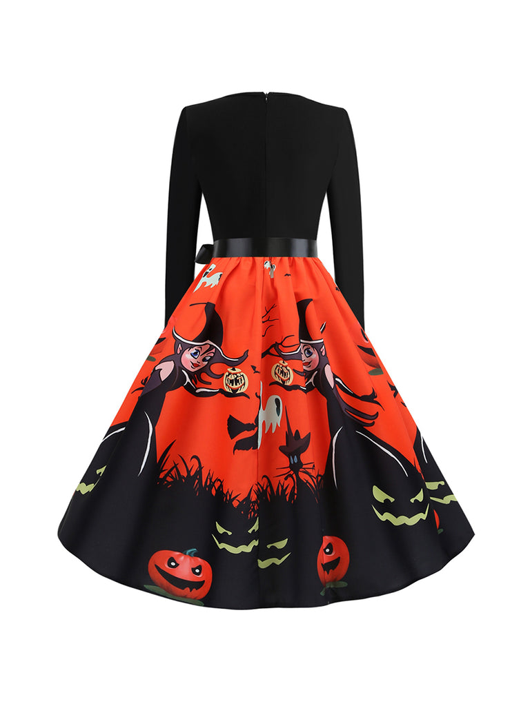 Halloween Round Neck Long Sleeve Ghost Print Elastic Waist Swing Dress