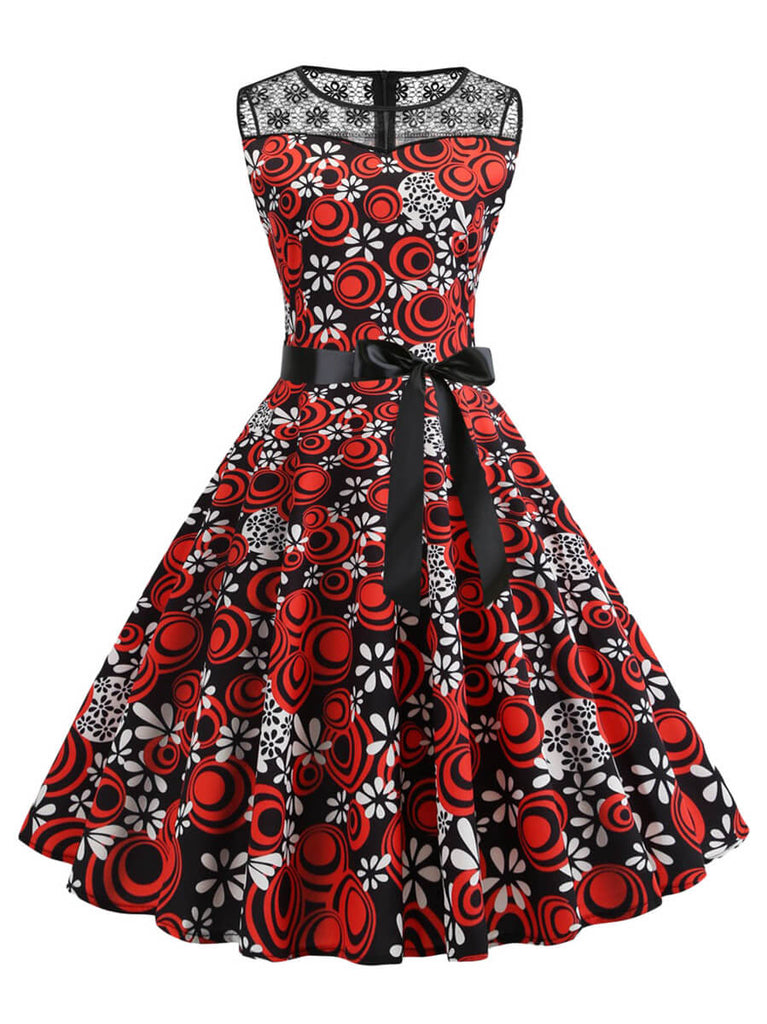 Womens 1950s Vintage Princess Rockabilly Swing Lace Dress
