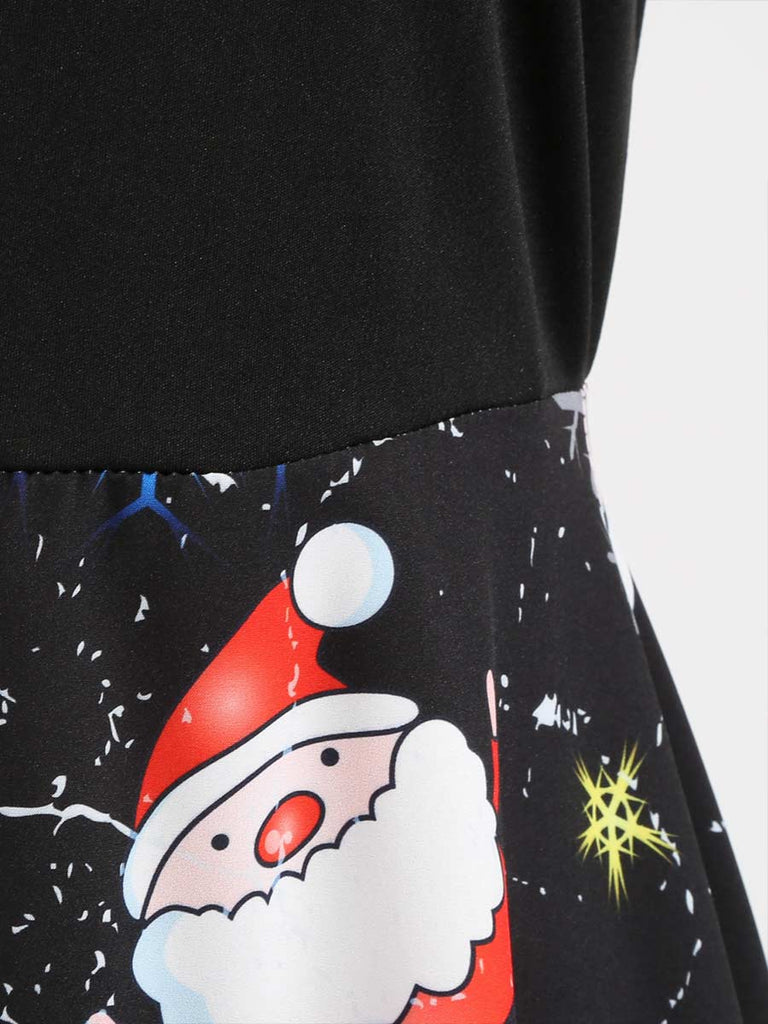 Christmas Dress Crew Neck Long Sleeve Santa Claus Print Dress