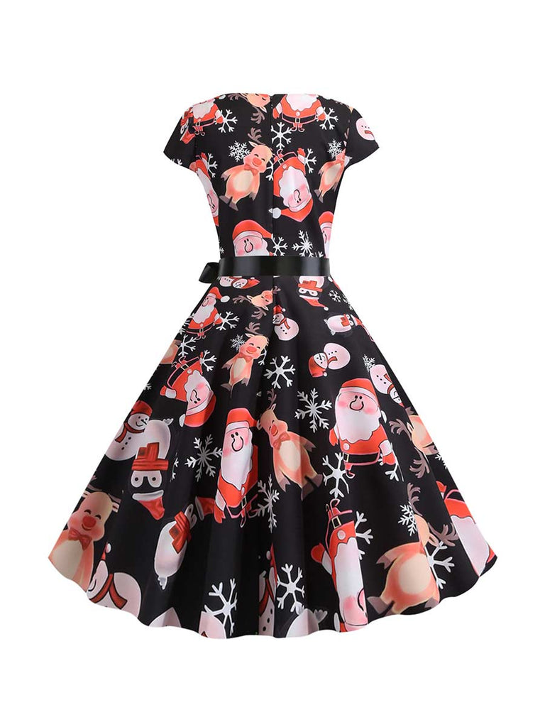 Christmas Dress Vintage O-neck Short Sleeve Print Midi Dress