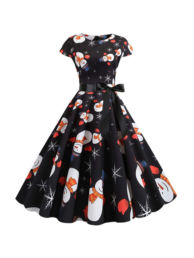 Hepburn Style Dress Christmas Snowman Print Dress With Ribbon