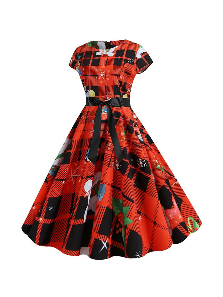 Christmas Dress Vintage Crew-neck Plaid Short Sleeve Knee-length Dress